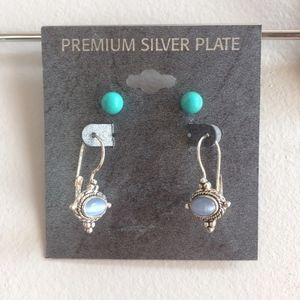Jewelry - Premium Silver Plate Turquoise Blue Stone Earrings